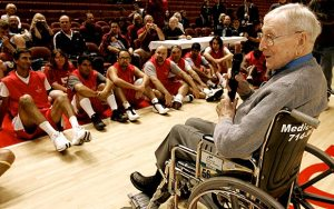 John Wooden conducts a clinic and speaks to Special Olympians in December, 2008.  (Los Angeles Times)