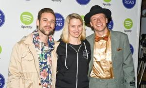MILWAUKEE, WI - MAY 12: Ryan Lewis, Yahoo CEO Marissa Mayer, and Macklemore attend Yahoo! On The Road at Turner Hall on May 12, 2013 in Milwaukee, Wisconsin.  Photo by Timothy Hiatt/Getty Images