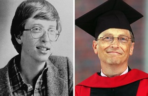 Left; Bill Gates in 1984 and; Bill Gates during commencement ceremonies at Harvard University June 7, 2007. (Left; AP; Darren McCollester / Getty) (from this Time article)