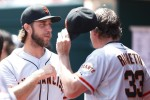 The pitcher and his coach - Bumgarner and Righetti
