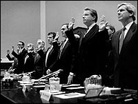 1994, Tobacco Executives swear to tell the truth before members of Congress; claiming that tobacco was not addicting