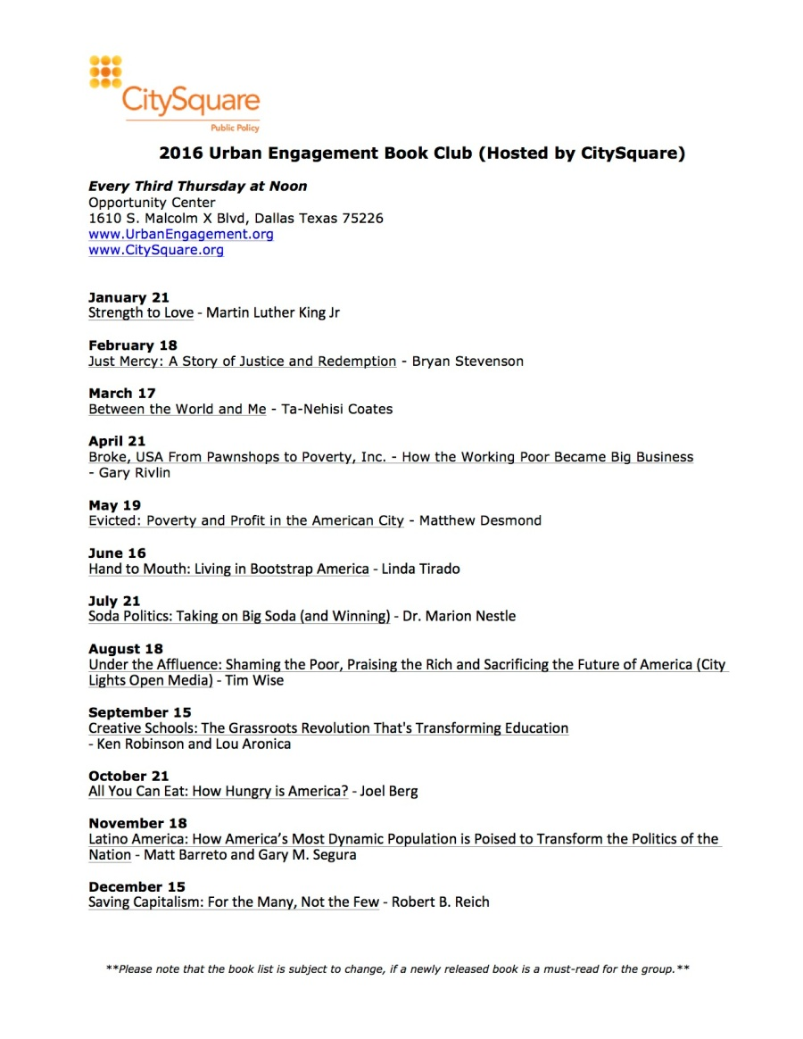 2016 Urban Book Club Calendar