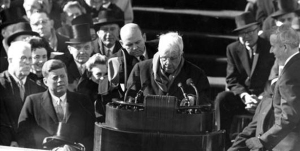 Robert Frost, reading his poetry at John Kennedy's Inauguration