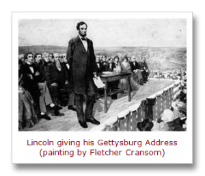 Lincoln at Gettysburg painting by Fletcher Cransom[11]